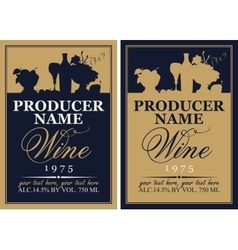 wine label set with the silhouette of a still life vector image