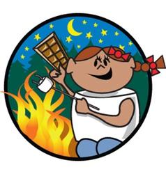 Girl roasting marshmellow vector image