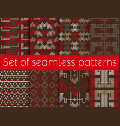 Art deco seamless pattern set retro backgrounds vector