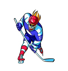 Close-up of man playing ice hockey vector