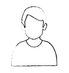 Blurred silhouette half body faceless man with t vector