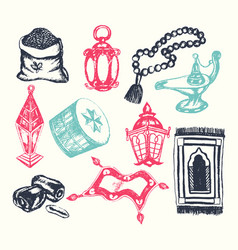 Muslim symbols - hand drawn vector