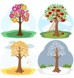 Tree four seasons vector