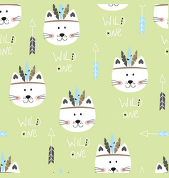 Seamless pattern with cute indian cats vector