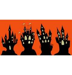 Set of halloween black castle vector