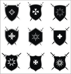 Shield With Crossed Sword Set vector image