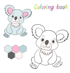 Coloring book koala bear kids layout for game vector