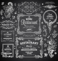 Chalk board menu set vector