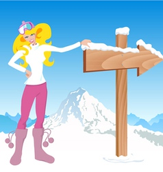 winter girl with direction sign vector image