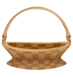 Empty wicker basket with handle straw basket vector