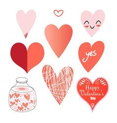 Graphic set of hearts on a white background vector