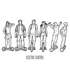 Graphic people riding on electric scooters vector