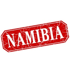 Namibia red square grunge retro style sign vector