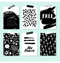 Modern card set for planner journaling vector