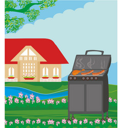 backyard barbecue vector image