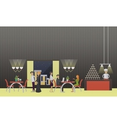 banner with restaurant interior People vector image vector image