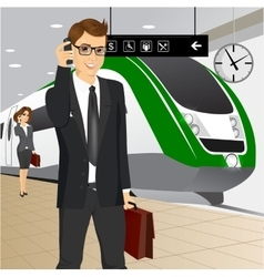 Businessman waiting for the train vector