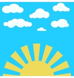Clouds on blue sky and yellow rising sun vector image