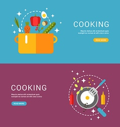 Cooking concept fried eggs in a frying pan soup in vector