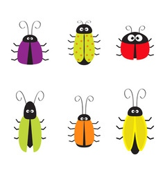 Cute bug cockroach set funny cartton character vector