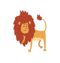 Cute funny lion cub cartoon character vector