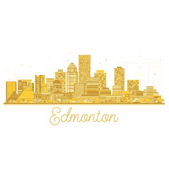 Edmonton canada city skyline golden silhouette vector