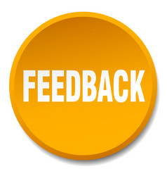 Feedback orange round flat isolated push button vector