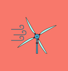 Flat icon design collection wind turbine in vector