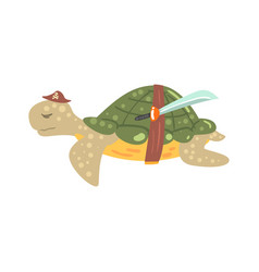 Funny cartoon turtle pirate in a hat with a sword vector