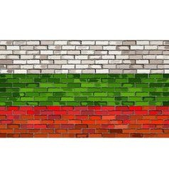 Grunge flag of Bulgaria on a brick wall vector image vector image
