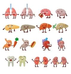 Human organs healthy and unhealthy characters vector