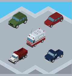 Isometric transport set of freight first-aid suv vector