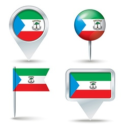 Map pins with flag of equatorial guinea vector