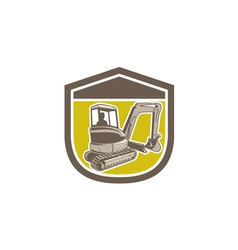 Mechanical digger excavator shield retro vector