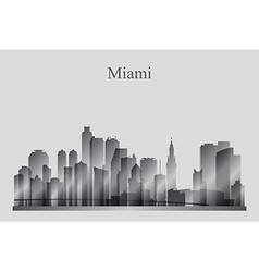 Miami city skyline silhouette in grayscale vector image