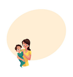 Mother holding and feeding her baby son with milk vector