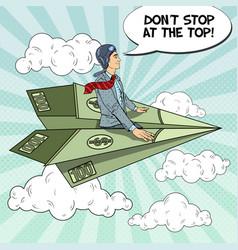 pop art businessman flying on dollar paper plane vector image