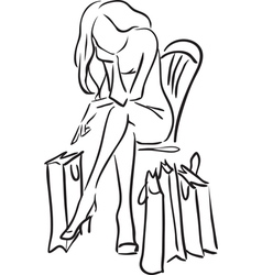 Series shopping the woman tired from shopping vector