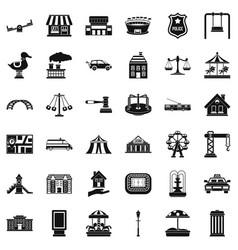 Small city icons set simple style vector