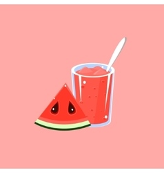 Watermelon Smoothie Cartoon Flat vector image
