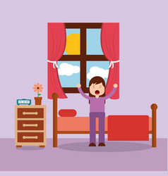 Woman waking up in the bed and stretching vector