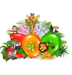 Word zoo with cartoon wild animal vector image