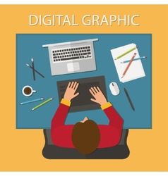 Workplace digital process Laptop and graphic vector image