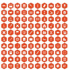 100 calculator icons hexagon orange vector