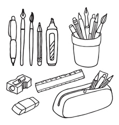 Brushes pencils pens ruler sharpener eraser icons vector