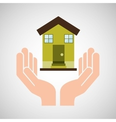 Hands care environment house recycle vector