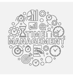 Time management line round vector