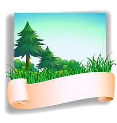 An empty signage in front of the pine trees vector