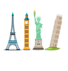 World landmark collection isolate set vector