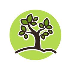 Minimalistic green tree growing vector